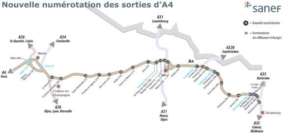 Autoroute A4 – les sorties changent de numéro