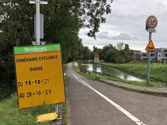 Travaux sur la piste cyclable le long du canal